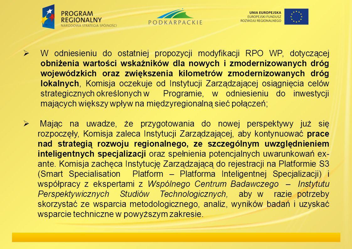 W odniesieniu do ostatniej propozycji modyfikacji RPO WP, dotyczącej