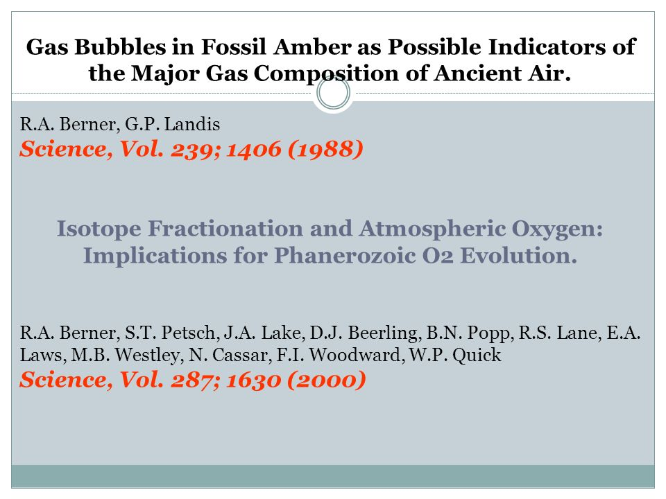 Gas Bubbles in Fossil Amber as Possible Indicators of the Major Gas Composition of Ancient Air.