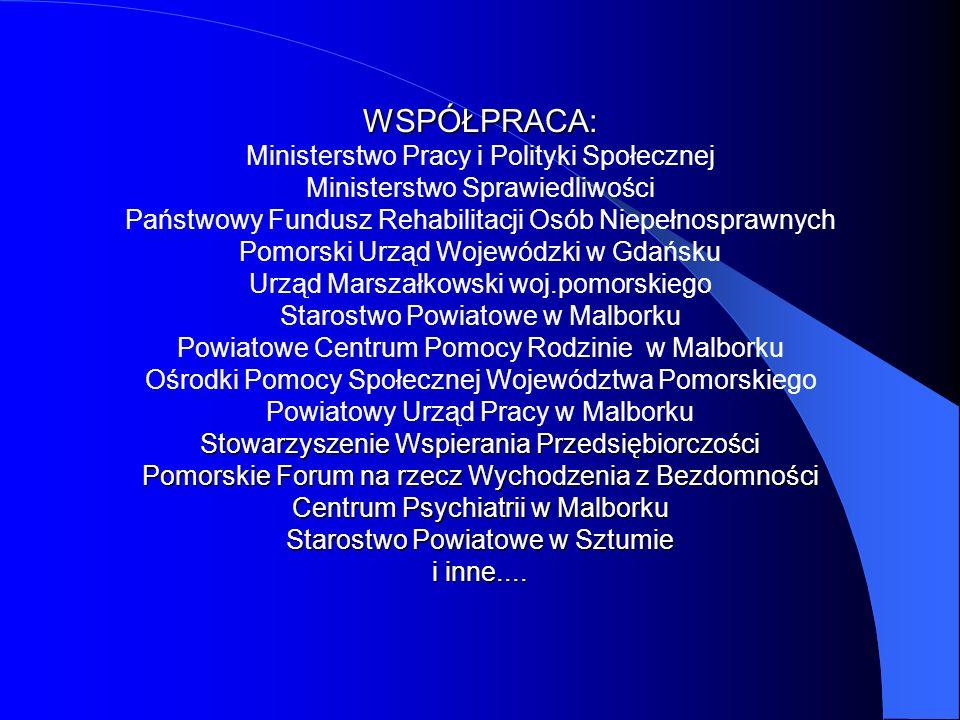WSPÓŁPRACA: Ministerstwo Pracy i Polityki Społecznej Ministerstwo Sprawiedliwości Państwowy Fundusz Rehabilitacji Osób Niepełnosprawnych Pomorski Urząd Wojewódzki w Gdańsku Urząd Marszałkowski woj.pomorskiego Starostwo Powiatowe w Malborku Powiatowe Centrum Pomocy Rodzinie w Malborku Ośrodki Pomocy Społecznej Województwa Pomorskiego Powiatowy Urząd Pracy w Malborku Stowarzyszenie Wspierania Przedsiębiorczości Pomorskie Forum na rzecz Wychodzenia z Bezdomności Centrum Psychiatrii w Malborku Starostwo Powiatowe w Sztumie i inne....