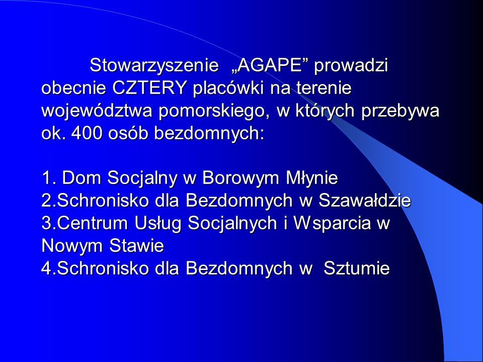 """Stowarzyszenie """"AGAPE prowadzi obecnie CZTERY placówki na terenie województwa pomorskiego, w których przebywa ok."""