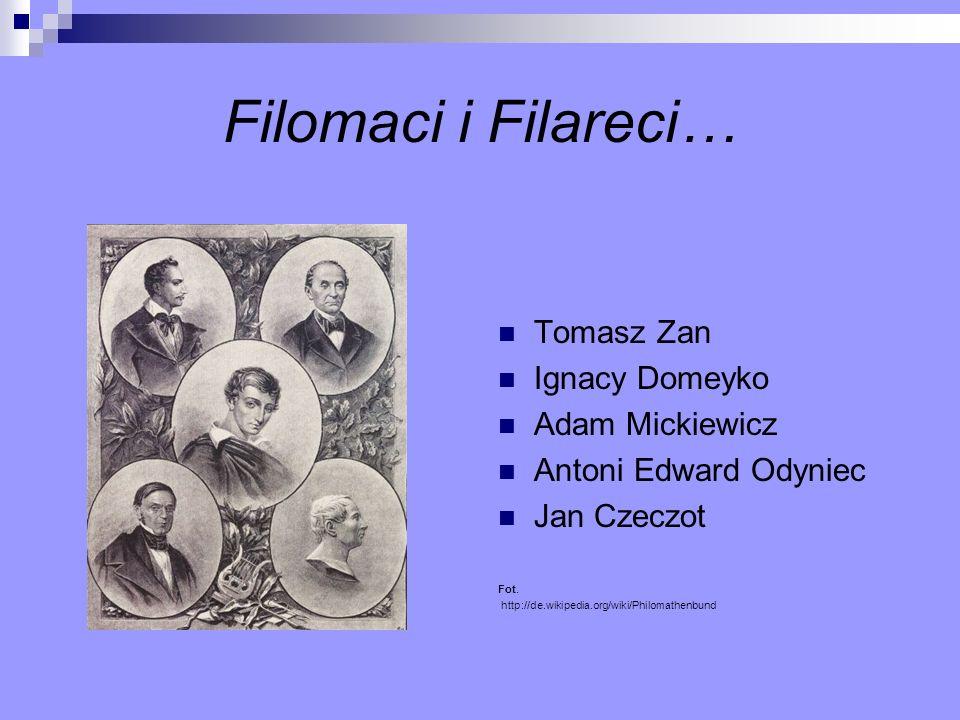 Filomaci i Filareci… Tomasz Zan Ignacy Domeyko Adam Mickiewicz