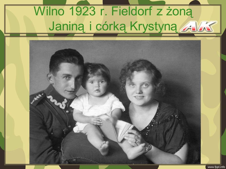 Wilno 1923 r. Fieldorf z żoną Janiną i córką Krystyną