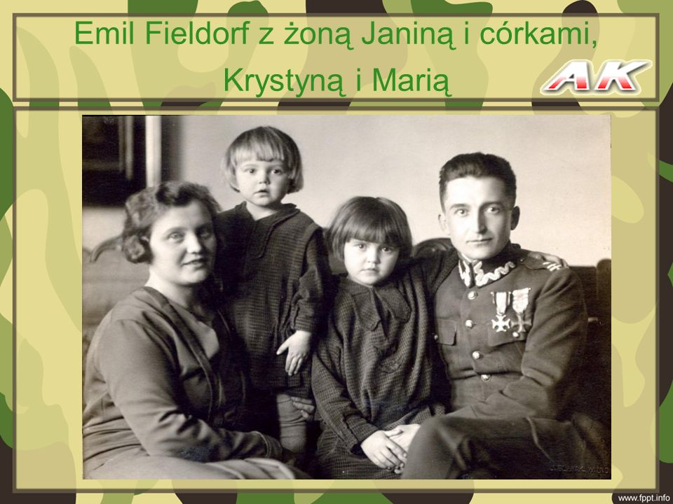 Emil Fieldorf z żoną Janiną i córkami, Krystyną i Marią