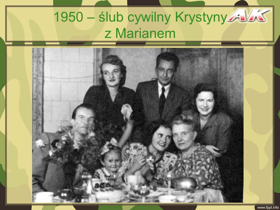 1950 – ślub cywilny Krystyny z Marianem