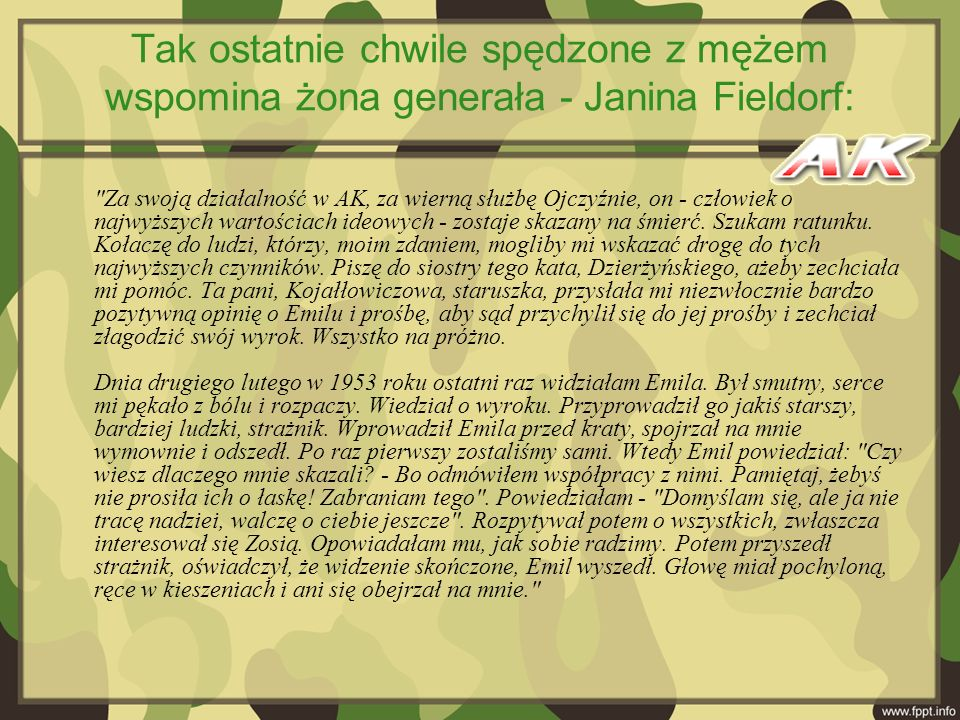 Tak ostatnie chwile spędzone z mężem wspomina żona generała - Janina Fieldorf: