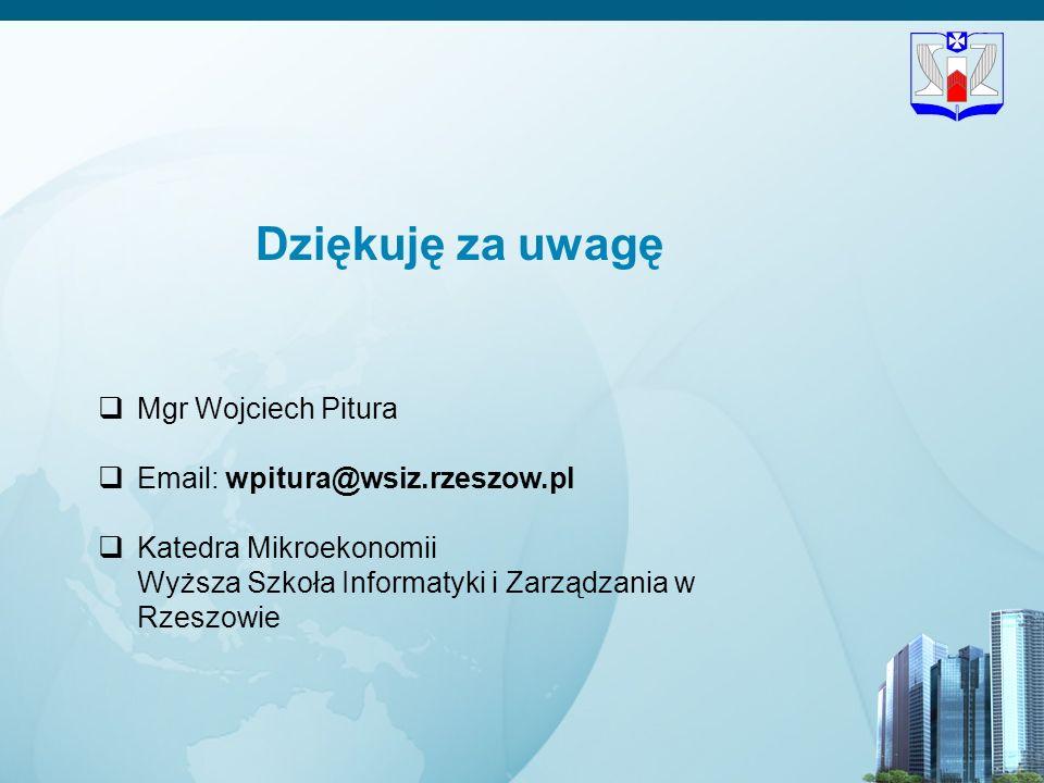 Dziękuję za uwagę Mgr Wojciech Pitura