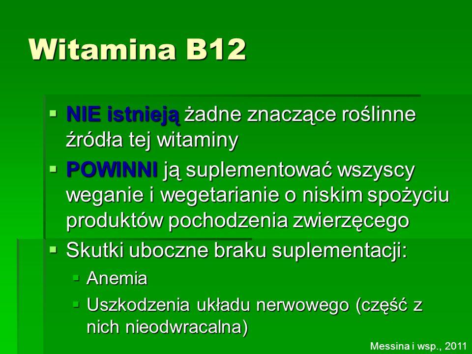 Witamina B12 NIE istnieją żadne znaczące roślinne źródła tej witaminy