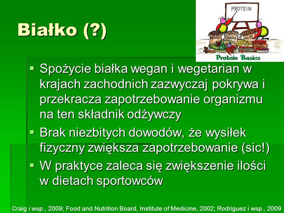 Białko ( ) Spożycie białka wegan i wegetarian w krajach zachodnich zazwyczaj pokrywa i przekracza zapotrzebowanie organizmu na ten składnik odżywczy.
