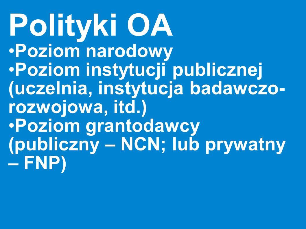 Polityki OA Poziom narodowy