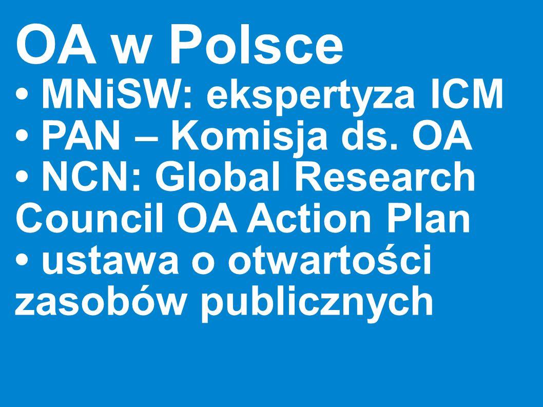 OA w Polsce • MNiSW: ekspertyza ICM • PAN – Komisja ds. OA