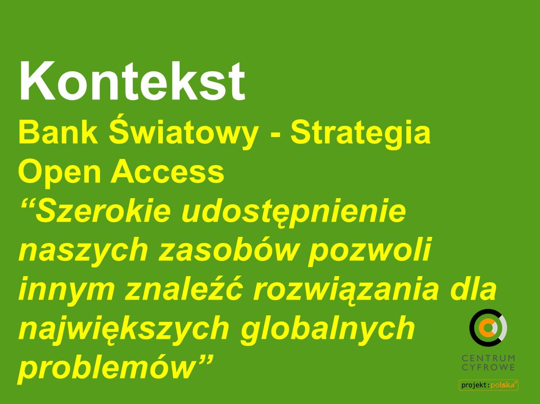 Kontekst Bank Światowy - Strategia Open Access
