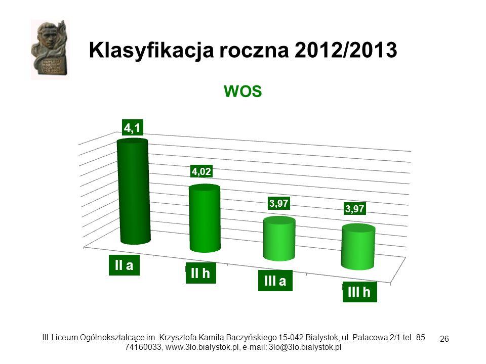 Klasyfikacja roczna 2012/2013 WOS II a II h III a III h