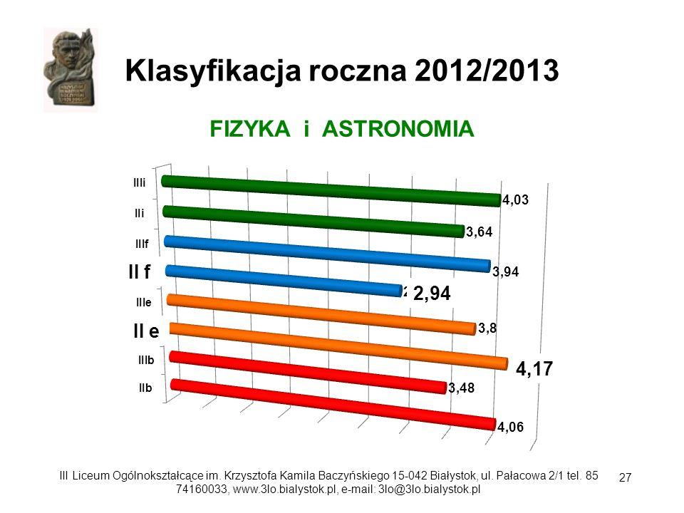 Klasyfikacja roczna 2012/2013 FIZYKA i ASTRONOMIA II f 2,94 II e 4,17