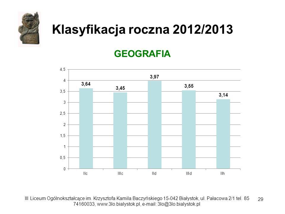 Klasyfikacja roczna 2012/2013 GEOGRAFIA