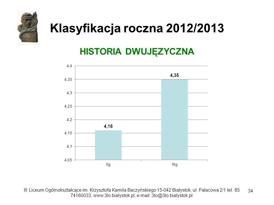 Klasyfikacja roczna 2012/2013 HISTORIA DWUJĘZYCZNA