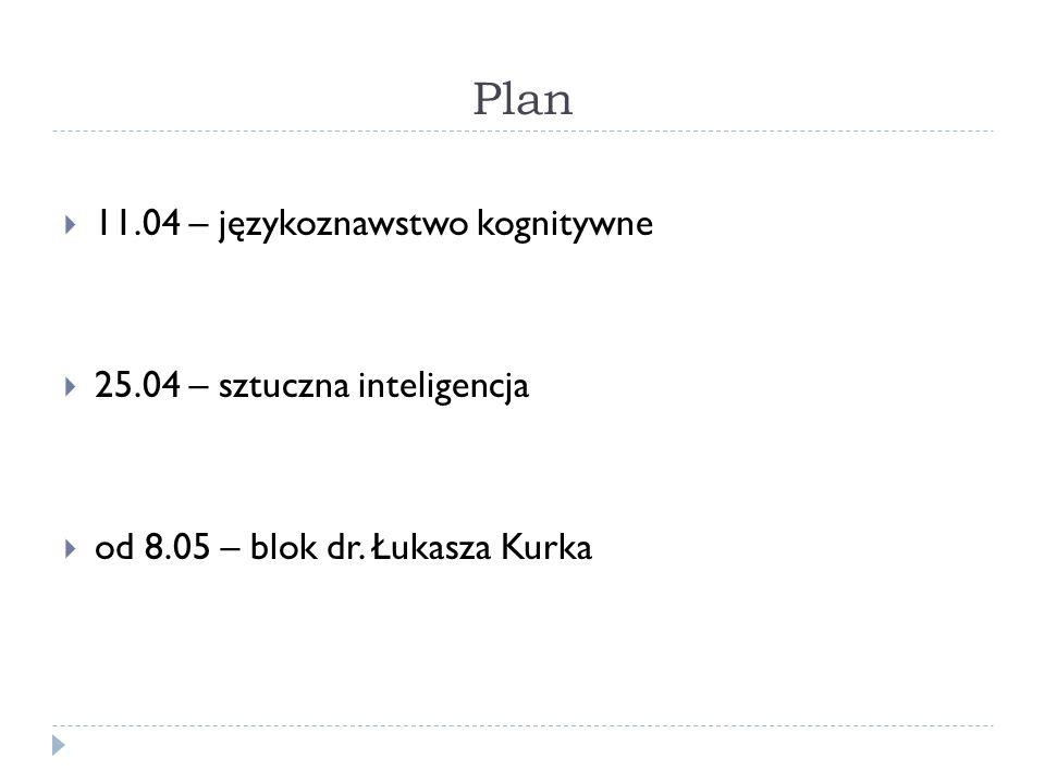 Plan 11.04 – językoznawstwo kognitywne 25.04 – sztuczna inteligencja