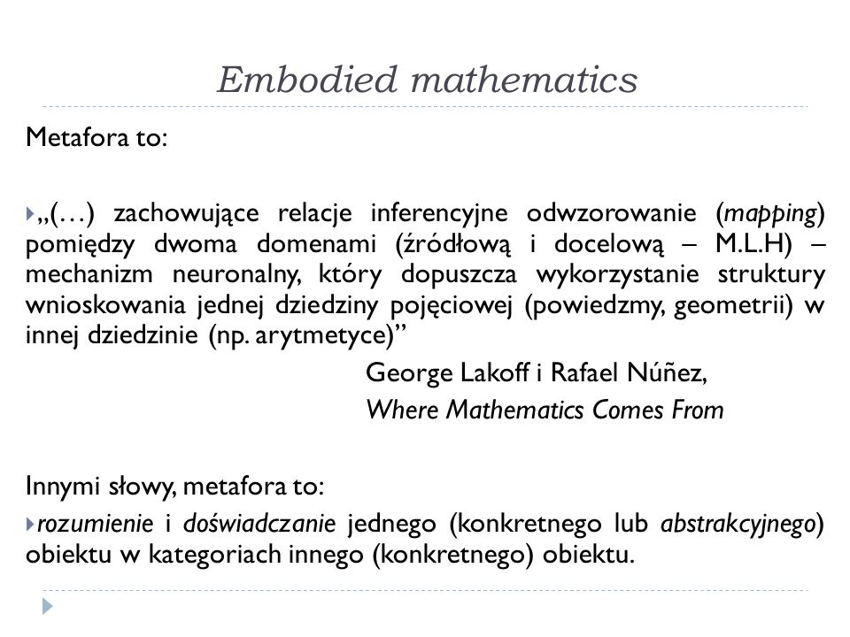 Embodied mathematics Metafora to: