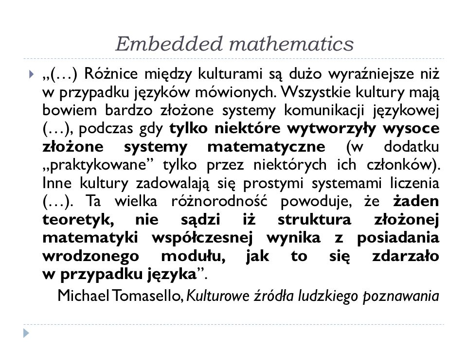 Embedded mathematics