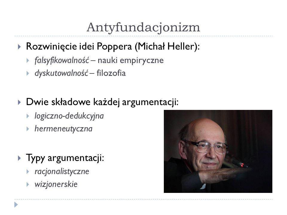 Antyfundacjonizm Rozwinięcie idei Poppera (Michał Heller):