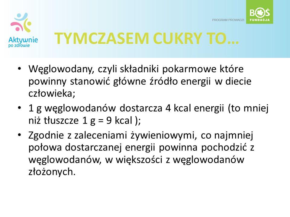 TYMCZASEM CUKRY TO… Węglowodany, czyli składniki pokarmowe które powinny stanowić główne źródło energii w diecie człowieka;