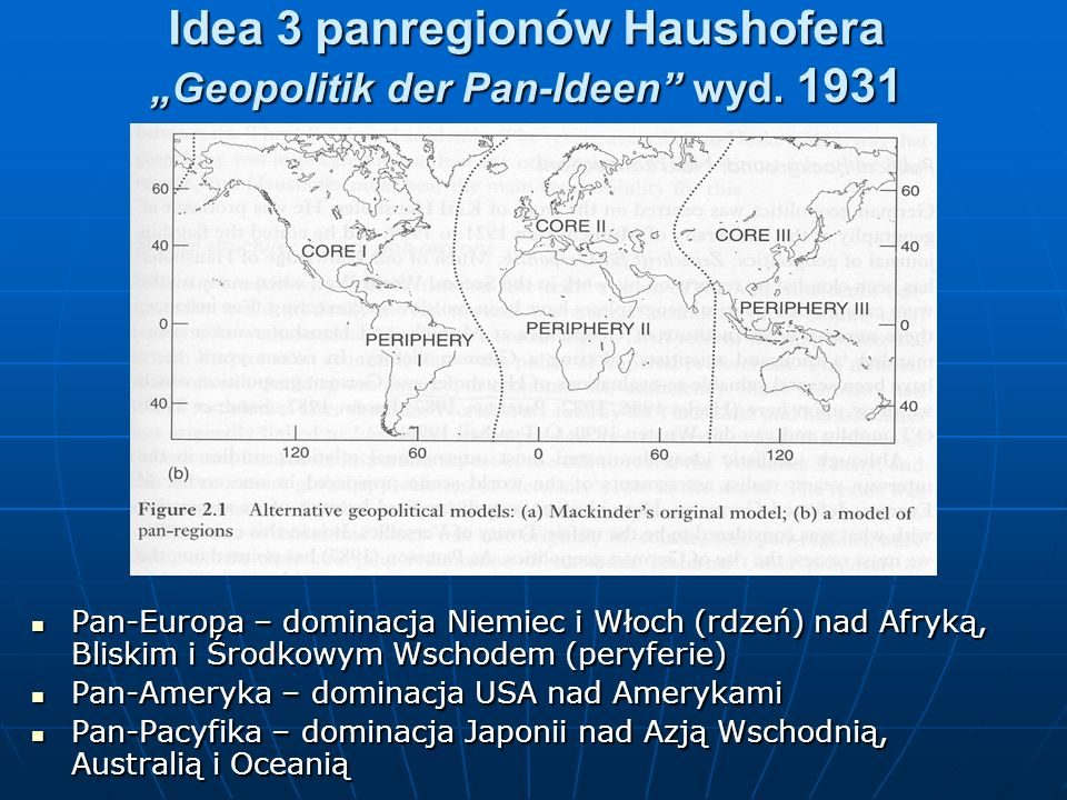 "Idea 3 panregionów Haushofera ""Geopolitik der Pan-Ideen wyd. 1931"