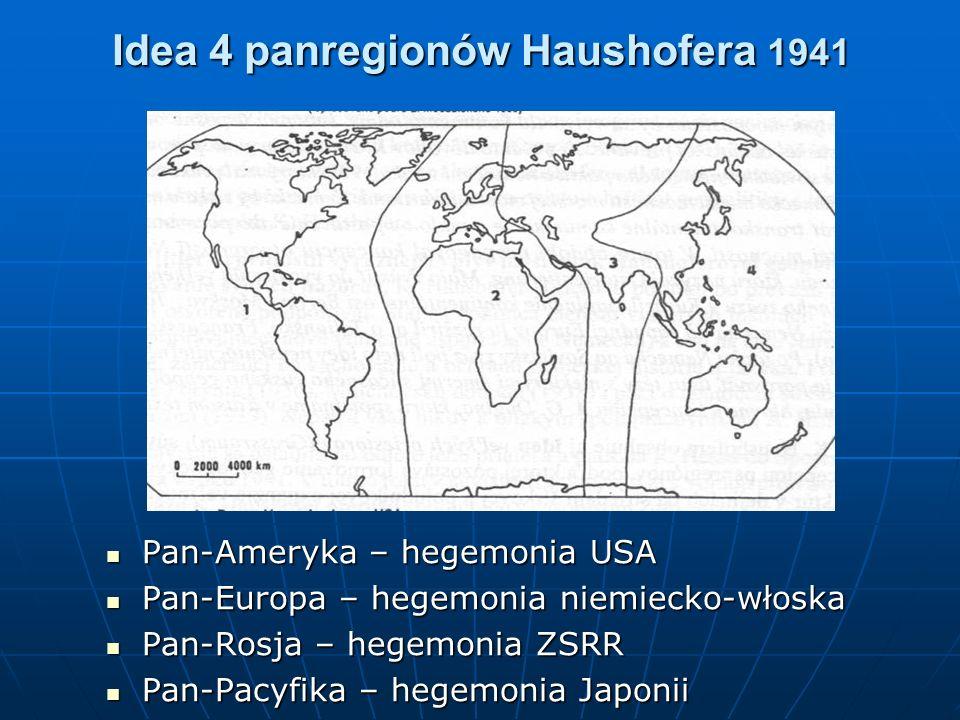 Idea 4 panregionów Haushofera 1941