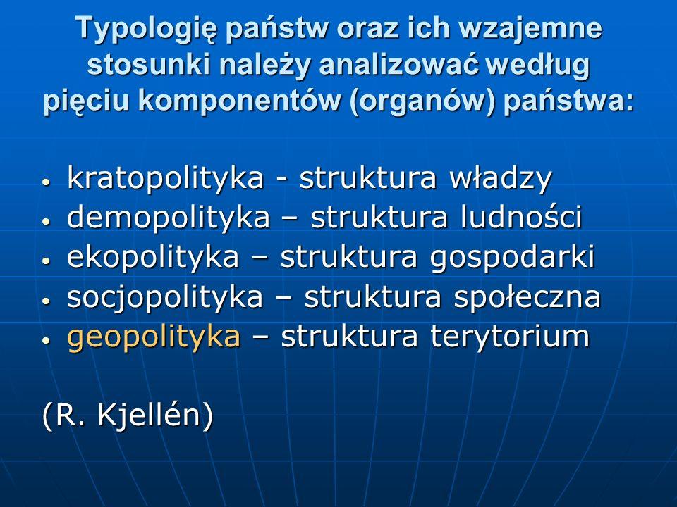Typologię państw oraz ich wzajemne stosunki należy analizować według pięciu komponentów (organów) państwa: