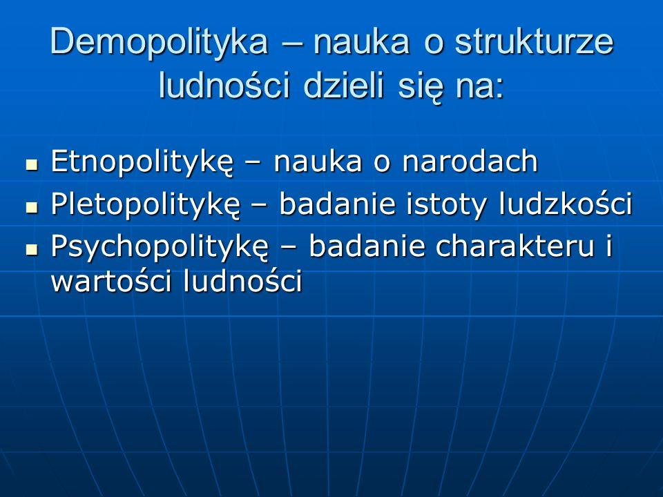 Demopolityka – nauka o strukturze ludności dzieli się na: