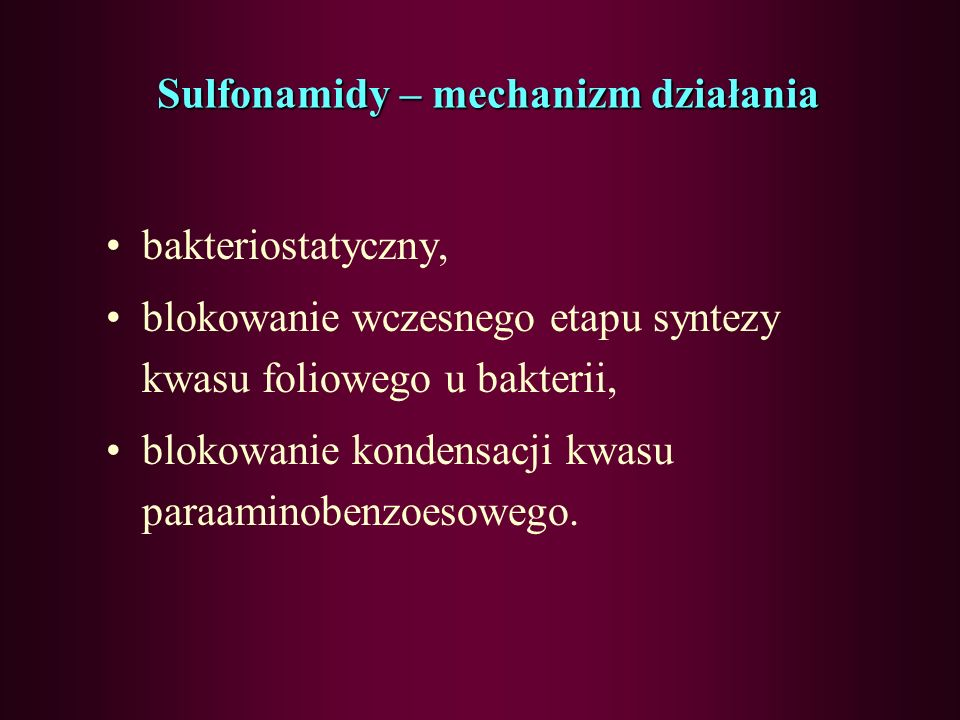 Sulfonamidy – mechanizm działania