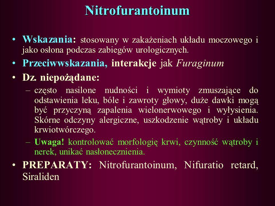 Nitrofurantoinum Wskazania: stosowany w zakażeniach układu moczowego i jako osłona podczas zabiegów urologicznych.
