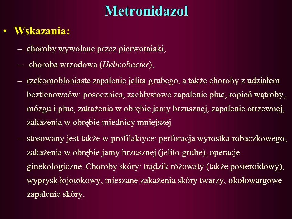 Metronidazol Wskazania: choroby wywołane przez pierwotniaki,