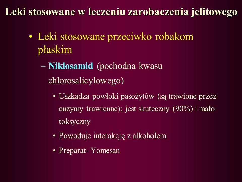 Leki stosowane w leczeniu zarobaczenia jelitowego