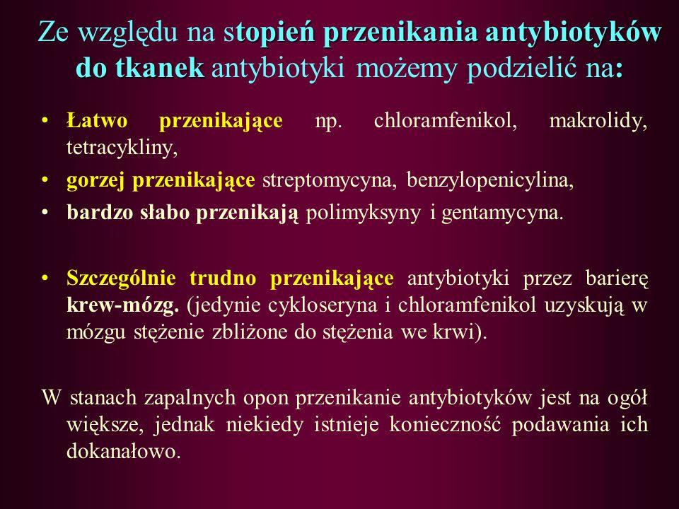 Ze względu na stopień przenikania antybiotyków do tkanek antybiotyki możemy podzielić na: