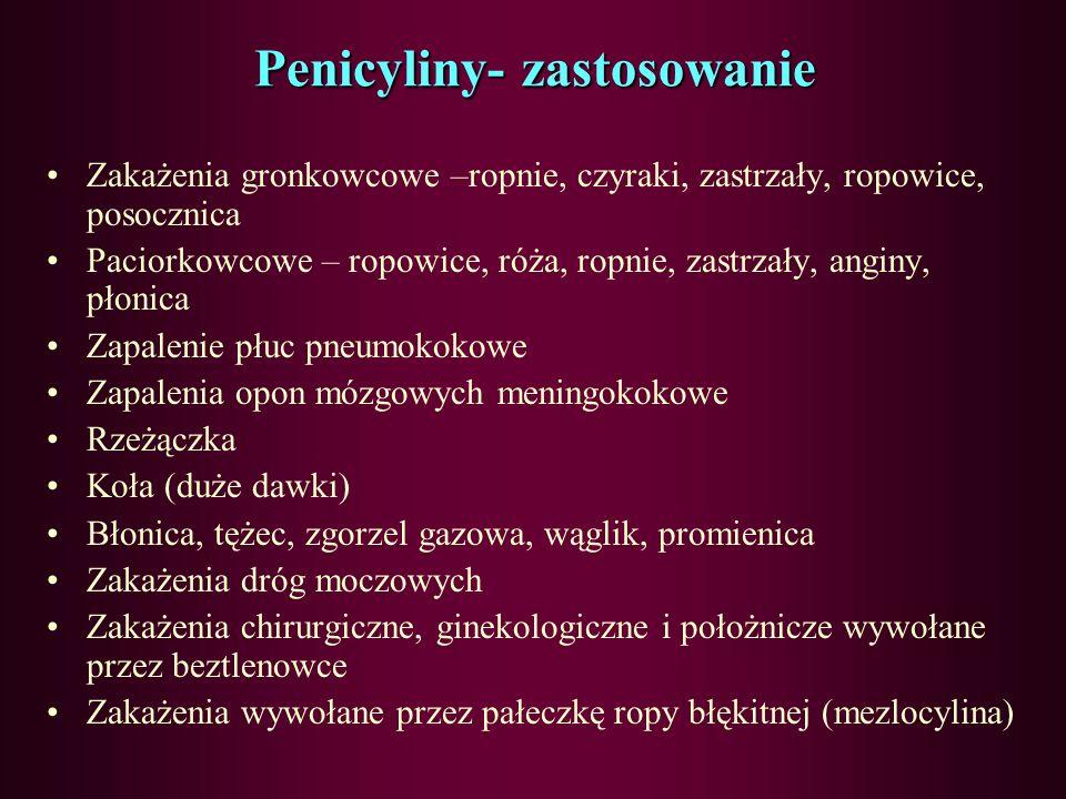 Penicyliny- zastosowanie