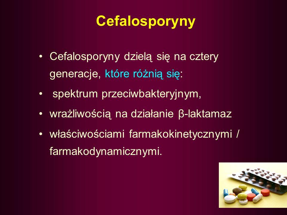 Cefalosporyny Cefalosporyny dzielą się na cztery generacje, które różnią się: spektrum przeciwbakteryjnym,