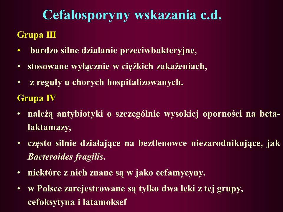 Cefalosporyny wskazania c.d.