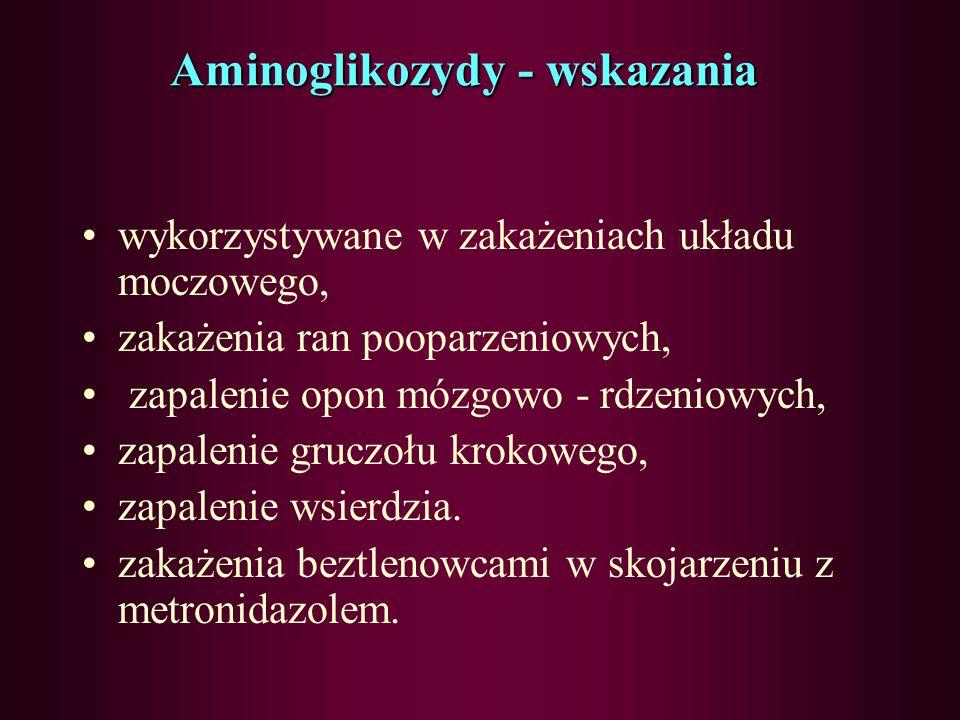Aminoglikozydy - wskazania