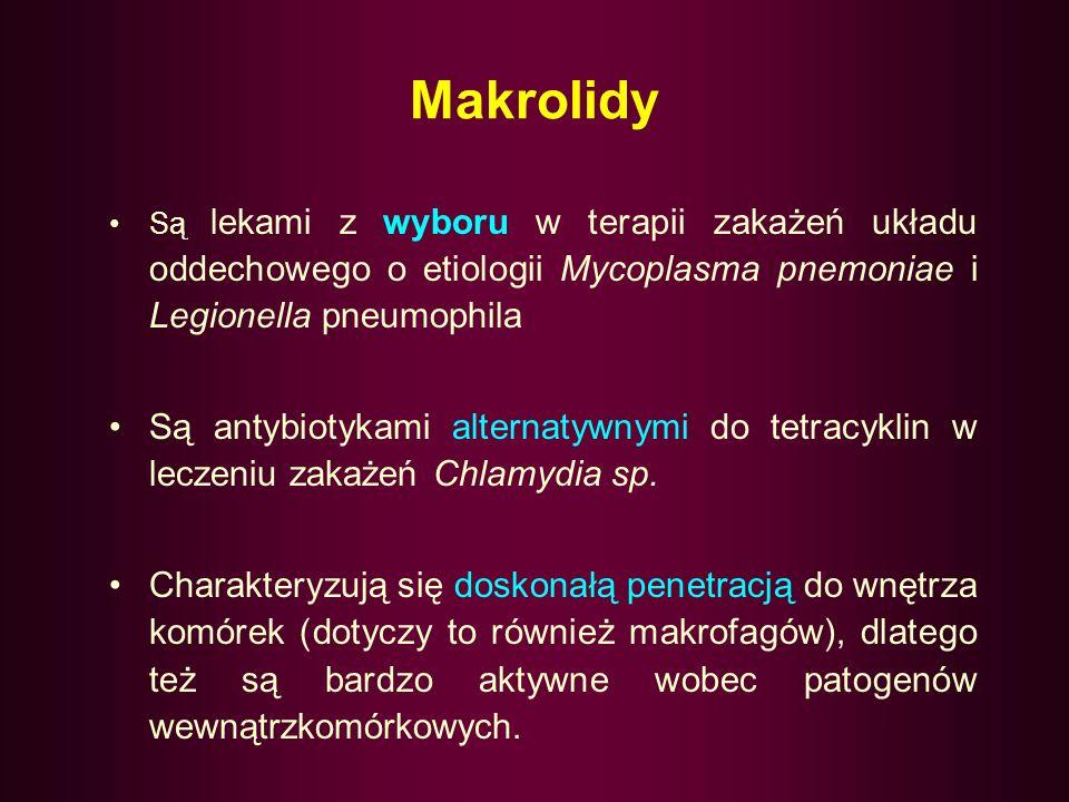 Makrolidy Są lekami z wyboru w terapii zakażeń układu oddechowego o etiologii Mycoplasma pnemoniae i Legionella pneumophila.