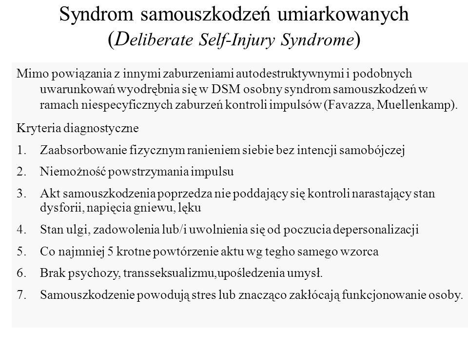 Syndrom samouszkodzeń umiarkowanych (Deliberate Self-Injury Syndrome)