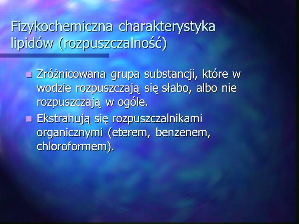 Fizykochemiczna charakterystyka lipidów (rozpuszczalność)