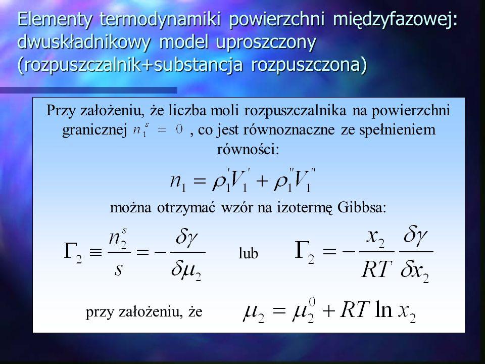 można otrzymać wzór na izotermę Gibbsa: