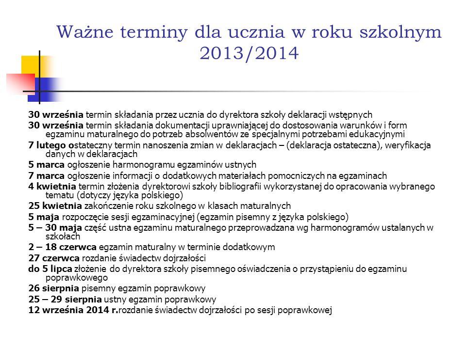 Ważne terminy dla ucznia w roku szkolnym 2013/2014