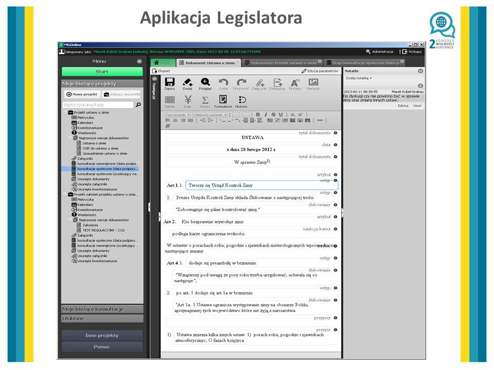 Aplikacja Legislatora