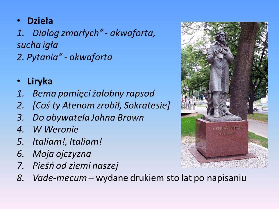 Dzieła Dialog zmarłych - akwaforta, sucha igła. 2. Pytania - akwaforta. Liryka. Bema pamięci żałobny rapsod.