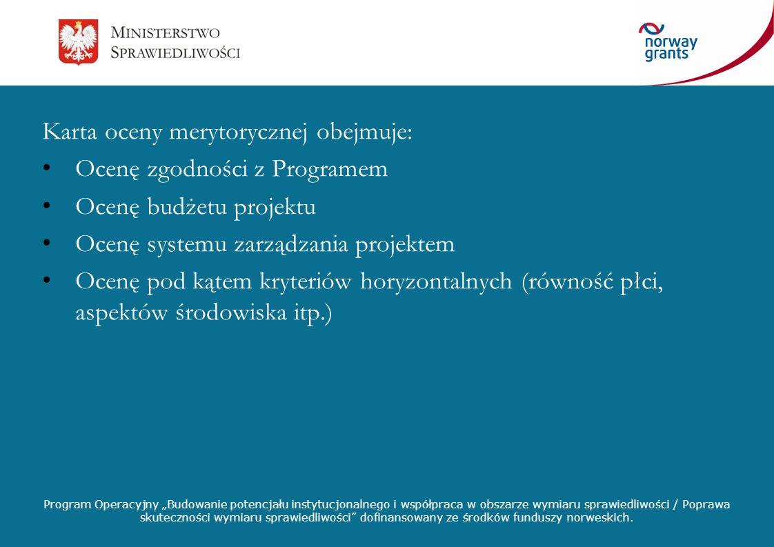 Karta oceny merytorycznej obejmuje: Ocenę zgodności z Programem