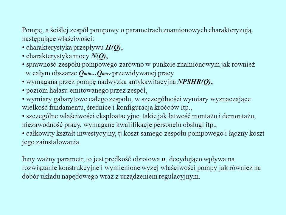 Pompę, a ściślej zespół pompowy o parametrach znamionowych charakteryzują