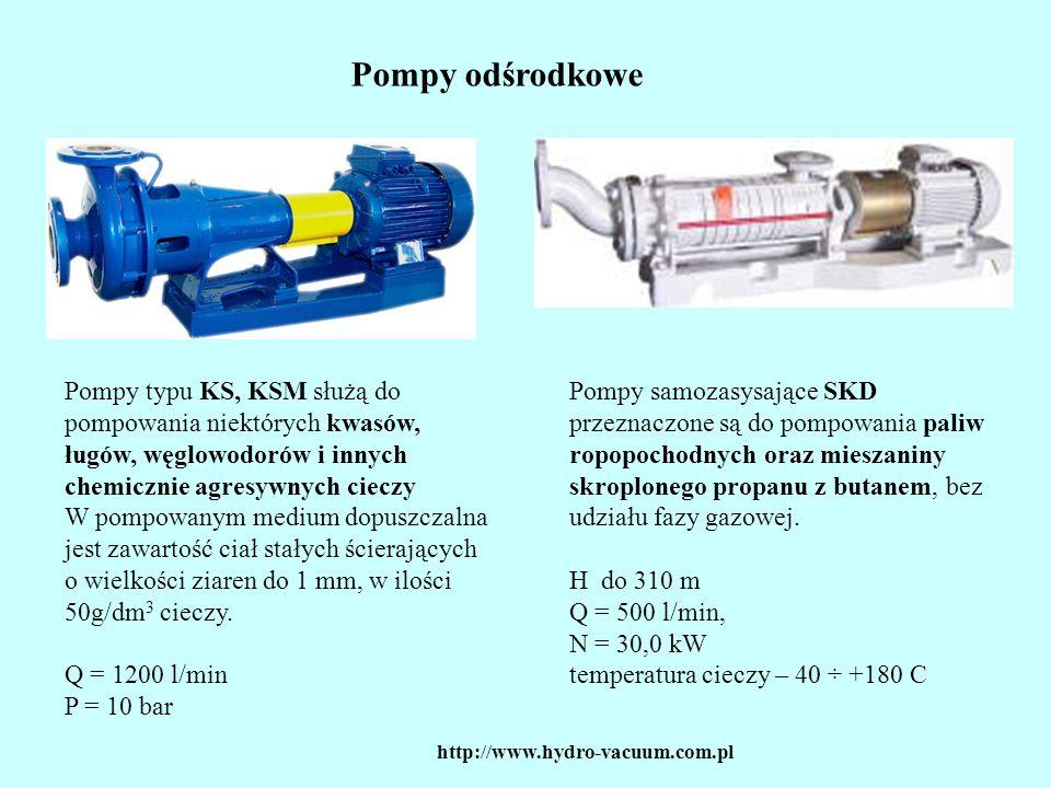 Pompy odśrodkowe Pompy typu KS, KSM służą do pompowania niektórych kwasów, ługów, węglowodorów i innych chemicznie agresywnych cieczy.