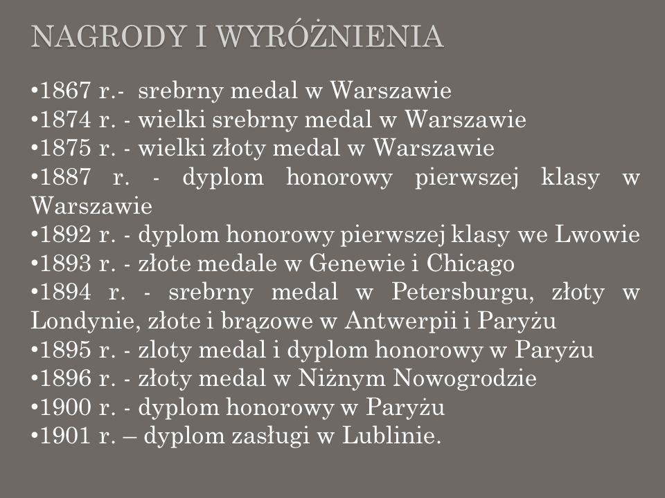 Nagrody i wyróżnienia 1867 r.- srebrny medal w Warszawie