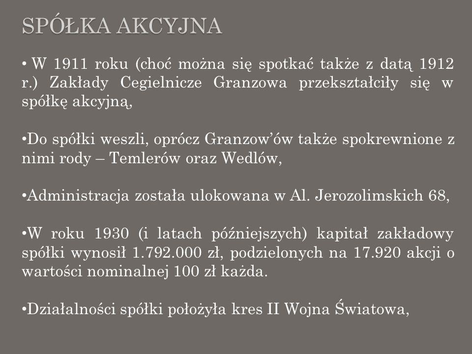 Spółka AkcyjnaW 1911 roku (choć można się spotkać także z datą 1912 r.) Zakłady Cegielnicze Granzowa przekształciły się w spółkę akcyjną,