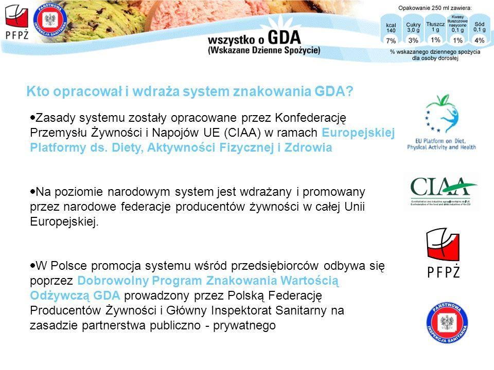Kto opracował i wdraża system znakowania GDA